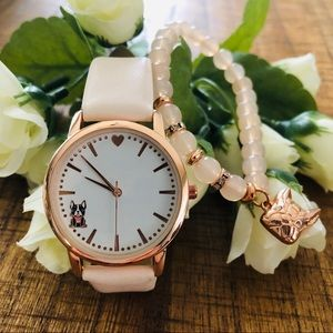 NWOT French bulldog watch and bracelet